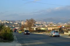 Entering Sandanski in Blagoevgrad province, Bulgaria stock image