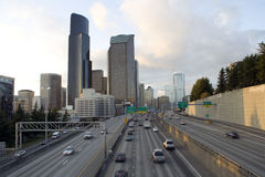 Entering Seattle from I 5. North Stock Photos