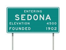 Entering Sedona road sign. Vector illustration of the Entering Sedona green road sign with elevation and founded date information royalty free illustration
