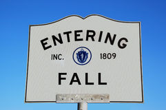Entering Sign. Entering the Fall Season Royalty Free Stock Photos