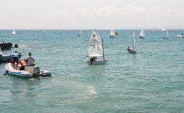 Entering the start of the competition in sailing in Pomorie Royalty Free Stock Image