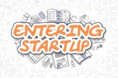 Entering Startup - Cartoon Orange Text. Business Concept. Royalty Free Stock Photo
