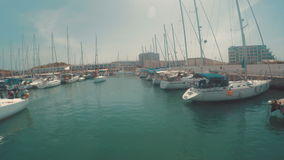 Entering to herzliya marina in israel - view from the boat.  stock video