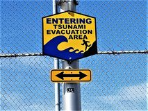 Entering Tsunami Evacuation Area Sign Stock Photos