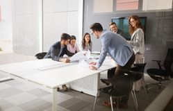Business people conference in modern meeting room. Enterpreneurs and business people conference in modern meeting room royalty free stock images