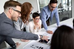 Business people conference in modern meeting room. Enterpreneurs and business people conference in modern meeting room stock photography