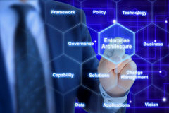 Enterprise architect pressing a tile in a hexagon grid. With keywords on blue Stock Photo