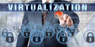Enterprise Client Touching VIRTUALIZATION Royalty Free Stock Photos
