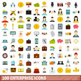 100 enterprise icons set, flat style Stock Images