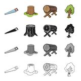 Enterprise, logger, ecology and other web icon in cartoon style.Wood, cutting, woodworking icons in set collection. Enterprise, logger, ecology and other  icon Royalty Free Stock Photos