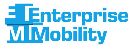 Enterprise Mobility Blue Abstract Stripes. Enterprise mobility text written over blue background Stock Photography
