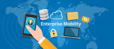Enterprise mobility connected everywhere company working anywhere mobile Royalty Free Stock Photo