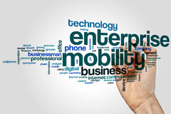 Enterprise mobility word cloud concept on grey background Royalty Free Stock Images