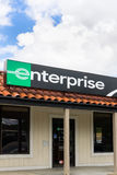 Enterprise Rent-a-Car Sign and Store Vertical Image. SANTA CLARITA, CA/USA - MARCH 1, 2015: Enterprise car rental front and sign vertical image. Enterprise Rent Royalty Free Stock Photography