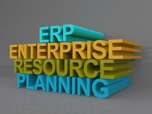 Enterprise and resource planning. Text ' Enterprise and resource planning ' in upper case 3D letters of yellow, green and blue colors isolated on a gray Royalty Free Stock Photo