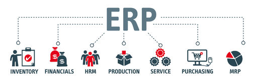 Enterprise resource planning concept ERP. ERP. Enterprise resource planning concept. Banner with keywords and icons Royalty Free Stock Photos