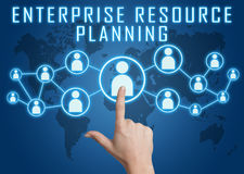 Enterprise Resource Planning. Concept with hand pressing social icons on blue world map background vector illustration