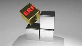 Enterprise Resource Planning - ERP. Silver cubes plus a golden one in which there is ERP Stock Photography