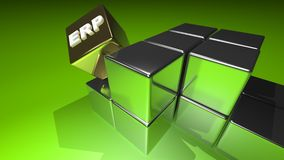 Enterprise Resource Planning - ERP. Some silver cubes, located in ordered lines and columns on a green surface; a golden one in evidence, with the word ERP for Royalty Free Stock Photos