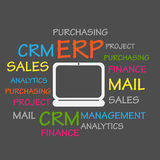 Enterprise Resource Planning ERP Word Cloud. Abstract Background Stock Photos