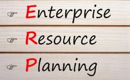 Enterprise Resource Planning ERP Concept. Enterprise Resource Planning words with ERP written on wood wall decor. Acronym business concept stock photos