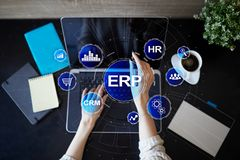 Enterprise resources planning business and technology concept. stock image