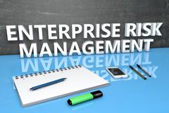 Enterprise Risk Management. Text concept with chalkboard, notebook, pens and mobile phone. 3D render illustration Stock Photo
