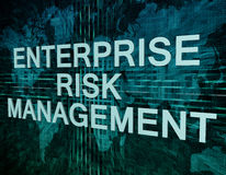 Enterprise Risk Management. Text concept on green digital world map background Royalty Free Stock Photos