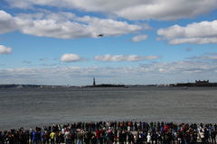 Enterprise Space Shuttle. Flying over the Statue of Liberty  on it's way to retirement at the Intrepid museum in Manhattan Stock Photo