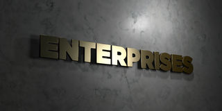 Enterprises - Gold text on black background - 3D rendered royalty free stock picture Stock Images