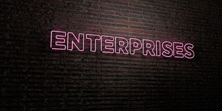 ENTERPRISES -Realistic Neon Sign on Brick Wall background - 3D rendered royalty free stock image Stock Photography