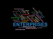 ENTERPRISES - word cloud wordcloud - terms from the globalization, economy and policy environment Royalty Free Stock Photos