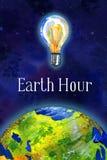 Enterre a ilustração tirada da aquarela da mão de hora - globo e bulbo no espaço ilustração stock