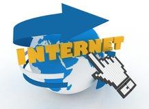 Enterre o cursor do globo e da mão em um Internet da palavra Imagens de Stock