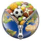 Enterre o globo com o zíper completo de bolas do esporte Imagens de Stock Royalty Free