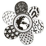 Enterre o globo no meio de uma flor, as pétalas estilizadas zentangle Imagem de Stock Royalty Free