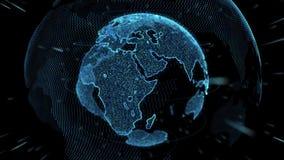Enterre o laço 4k de giro do globo estilizado pontos de giro do mundo com órbitas ilustração do vetor