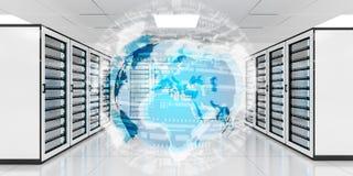 Enterre a rede que voa sobre a rendição do centro de dados 3D da sala do servidor Imagens de Stock Royalty Free