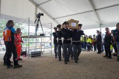 Enterrement de tremblement de terre d'Amatrice et d'Accumuli Photo libre de droits