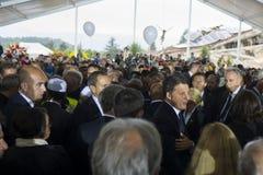 Enterrement pour des victimes de tremblement de terre, Amatrice et Accumuli, Italie Photo stock