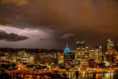 Enters the storm. A storm moves in over Pittsburgh pa Royalty Free Stock Images