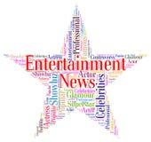 娱乐新闻代表新闻事业表现和Enterta 库存照片