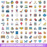 100 entertaiment industry icons set, cartoon style. 100 entertaiment industry icons set. Cartoon illustration of 100 entertaiment industry vector icons isolated Royalty Free Stock Image