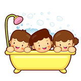 Entertain the children a bath. Marriage and Parenting Character Stock Image
