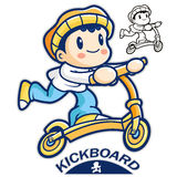 Entertain kids mascot riding Kickboards. Sports Character Design Royalty Free Stock Images
