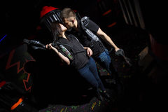 Entertain in a laser game stock photo