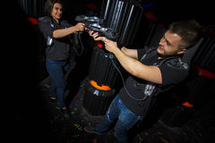 Entertain in a laser game stock photography
