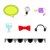 Entertain set. Include text box, michophone, ice cream, glass, ribbon and earpiece royalty free illustration