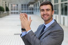 Entertained man clapping with joy Royalty Free Stock Photos