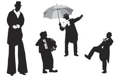 Entertainer silhouettes Royalty Free Stock Image